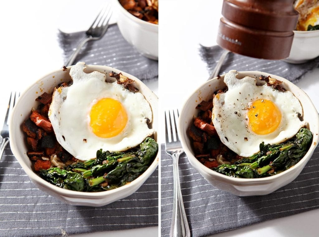 Curried Veggie Rice Bowls are a perfect dish to make when cleaning out the pantry and the refrigerator! These bowls are filled with brown rice, curried sweet potatoes, sautéed spinach with shallots and topped with a fried egg for the finishing touch, and make a delicious vegetarian lunch or dinner that's so simple and healthy!