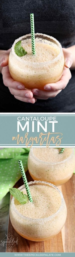 Pinterest collage of Cantaloupe Mint Margaritas