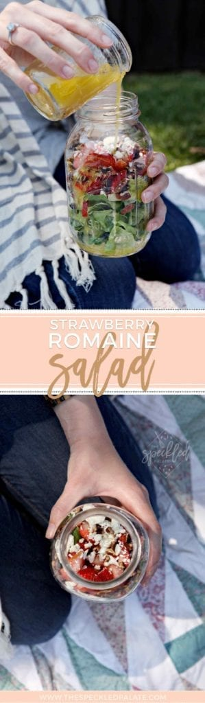 Pinterest collage of a Strawberry Romaine Salad in a Jar, held outdoors at a picnic