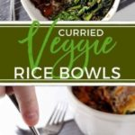 Curried Veggie Rice Bowls are a perfect dish to make when cleaning out the pantry and the refrigerator! These bowls are filled with brown rice, curried sweet potatoes, sautŽed spinach with shallots and topped with a fried egg for the finishing touch, and make a delicious vegetarian lunch or dinner that's so simple and healthy!