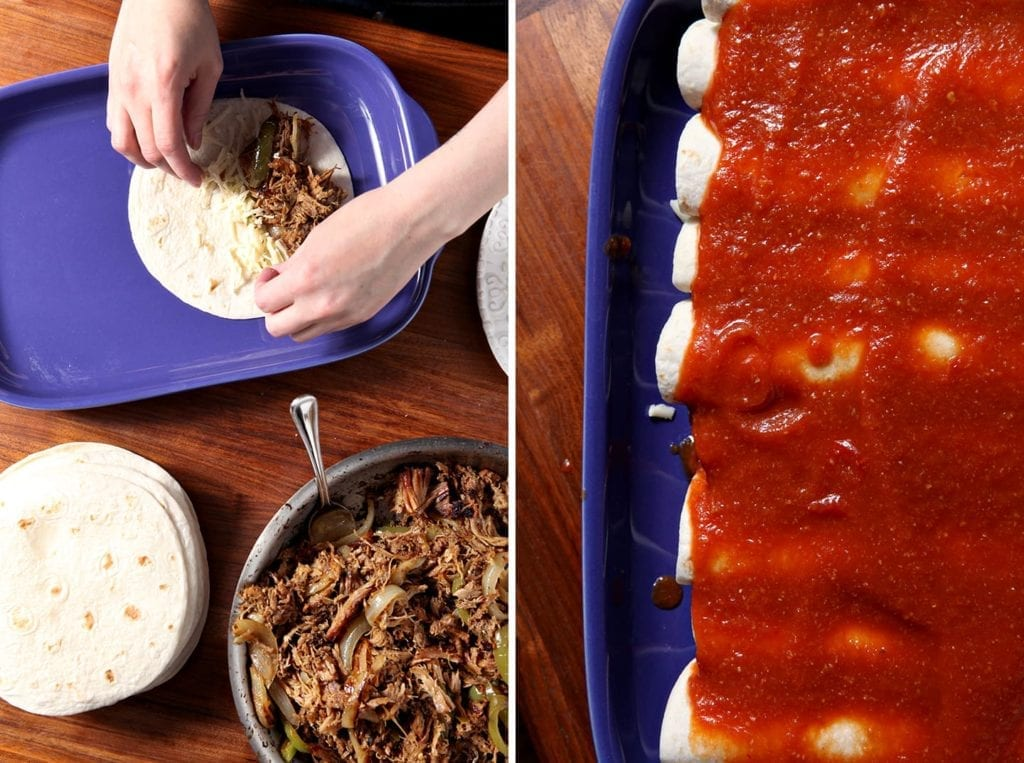 Pork Carnitas Enchiladas are a delicious entree for any Cinco de Mayo get-together! Pork simmers in the slow cooker on low all day, then is sautŽed with onion and green chiles. Once the filling is complete, roll it up in tortillas with some pepperjack cheese, slather them in spicy enchilada sauce and bake for this spectacular Mexican cuisine-inspired dish!