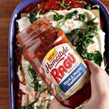 Vegetarian Spinach Lasagna, made with RAGÚ® Homestyle Sauce, is a simple, delicious and balanced homestyle meal! RAGÚ® Homestyle Thick & Hearty Traditional Sauce serves as the base of this lasagna, which is layered with no-boil noodles, a cottage cheese-ricotta mixture, sautéed spinach and mozzarella. Once the lasagna is put together, it bakes to perfection. This Vegetarian Spinach Lasagna is comfort food that is perfect for the entire family.