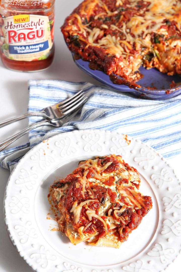 Vegetarian Spinach Lasagna, made with RAGÚ® Homestyle Sauce, is a ...