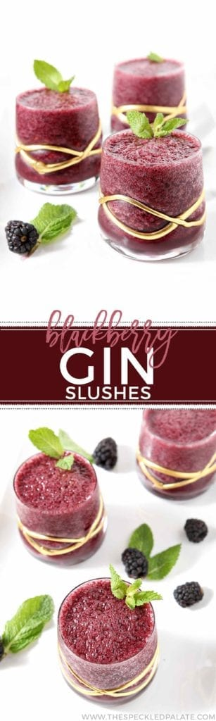 Glasses of blackberry gin slushes garnished with mint and berry