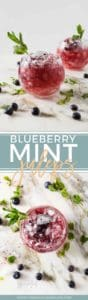 Pinterst collage of two images of completed Blueberry Mint Juleps in highball glasses