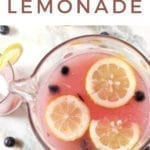 A pitcher of blueberry lemonade, with Pinterest text