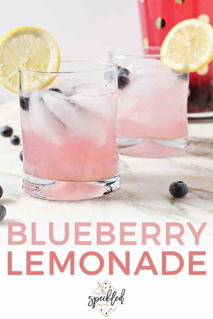 Two glasses of Blueberry Lemonade, with Pinterest text