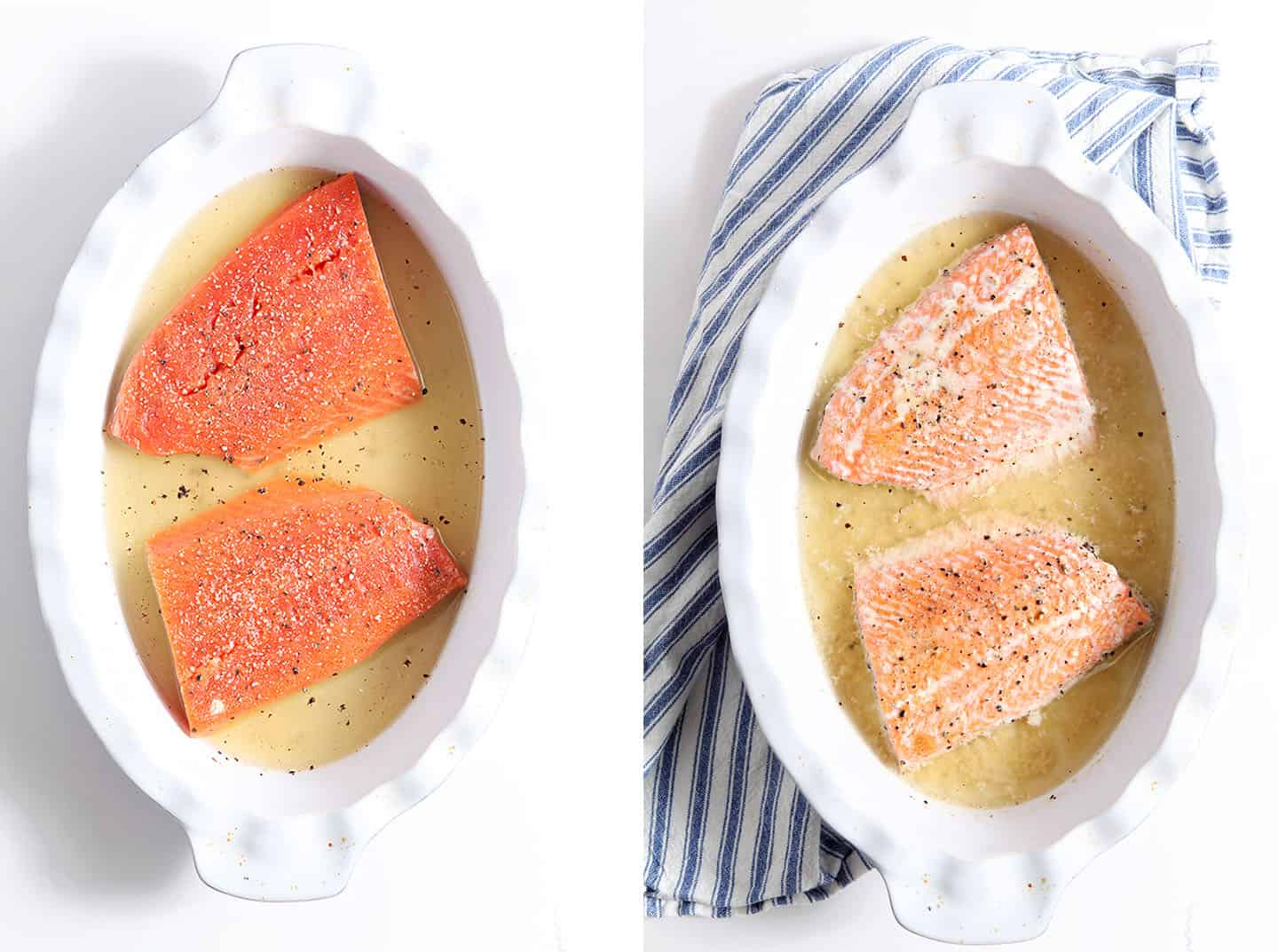 Overhead collage of Oven Poached Salmon before and after baking in a baking sheet