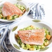 Friday's Dinner: Oven Poached Salmon Caesar Salads
