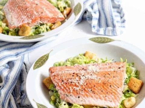 Oven Poached Salmon Caesar Salads