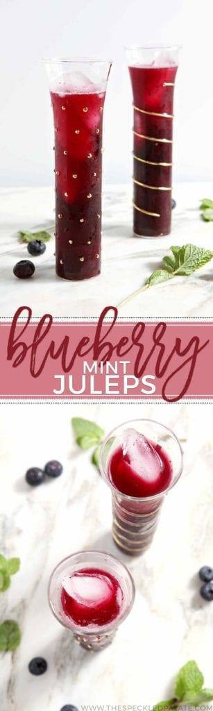Celebrate Kentucky Derby Week by whipping up homemade Blueberry Mint Juleps, a twist on the Churchill Downs traditional cocktail! Blueberry puree mixes with mint, sugar, hot water, a little lemon juice and bourbon to create this colorful summer drink.