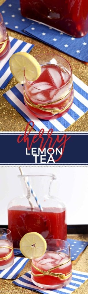 Instead of making traditional and well-loved Southern Sweet Tea, cool down this summer with naturally sweetened Cherry Lemon Tea! #recipe #drink
