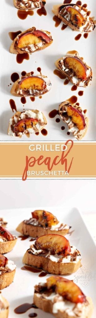 Grilled Peach Bruschetta is a perfect sweet appetizer or dessert for the summertime. Fire up the grill to make this delicious recipe this summer!