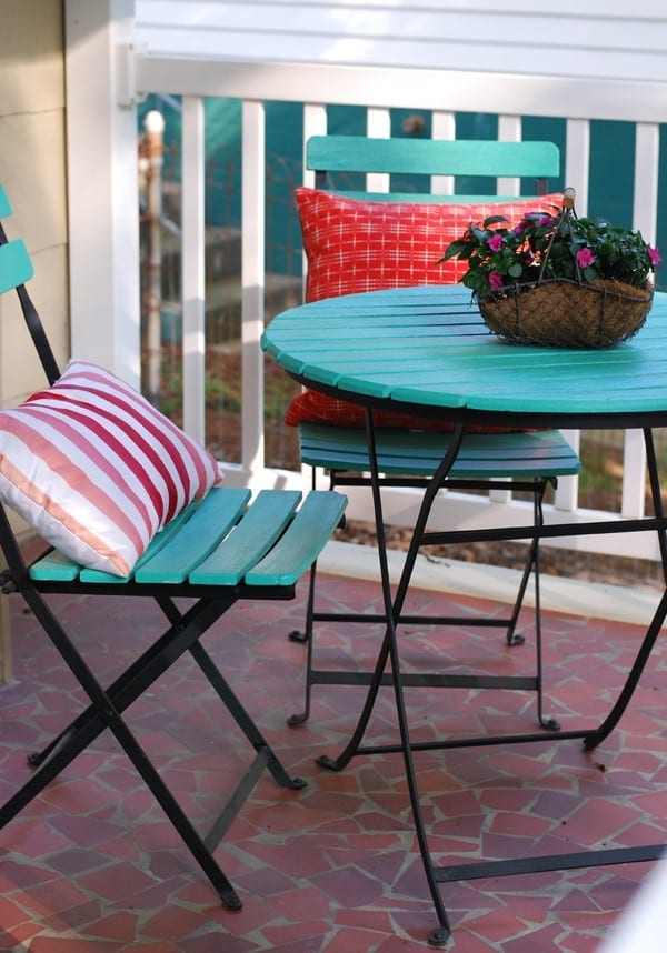 Teal outdoor table and two chairs