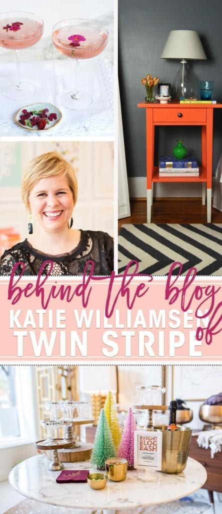 Learn a little more about The Speckled Palate in this year-long Behind The Blog Series! For the month of July, we are interviewing other bloggers. I had the honor to speak with Katie Williamsen from the lifestyle blog, Twin Stripe, about blogging, party hosting, where her inspiration comes from, glassware, glitter and more! Want to know Katie's answers to my questions? Come check it out, and be sure to visit her blog to see my answers to hers!