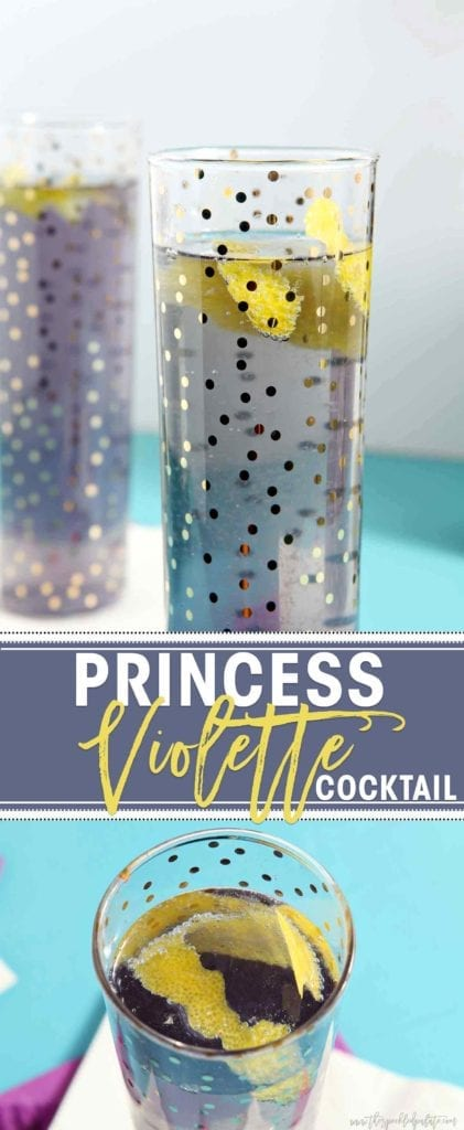 Collage of two images showing champagne flutes of creme de violette cocktails with the text 'princess violette cocktail'
