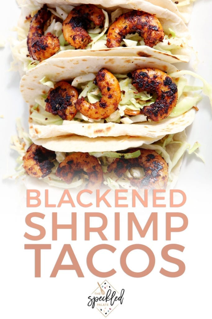 Overhead of several Blackened Shrimp Tacos from above, with Pinterest text