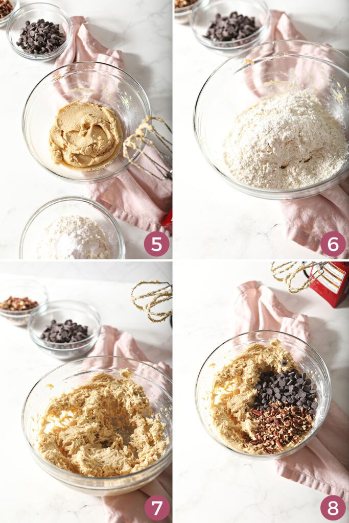 Collage showing how to add dry ingredients to chocolate chip pecan cookies