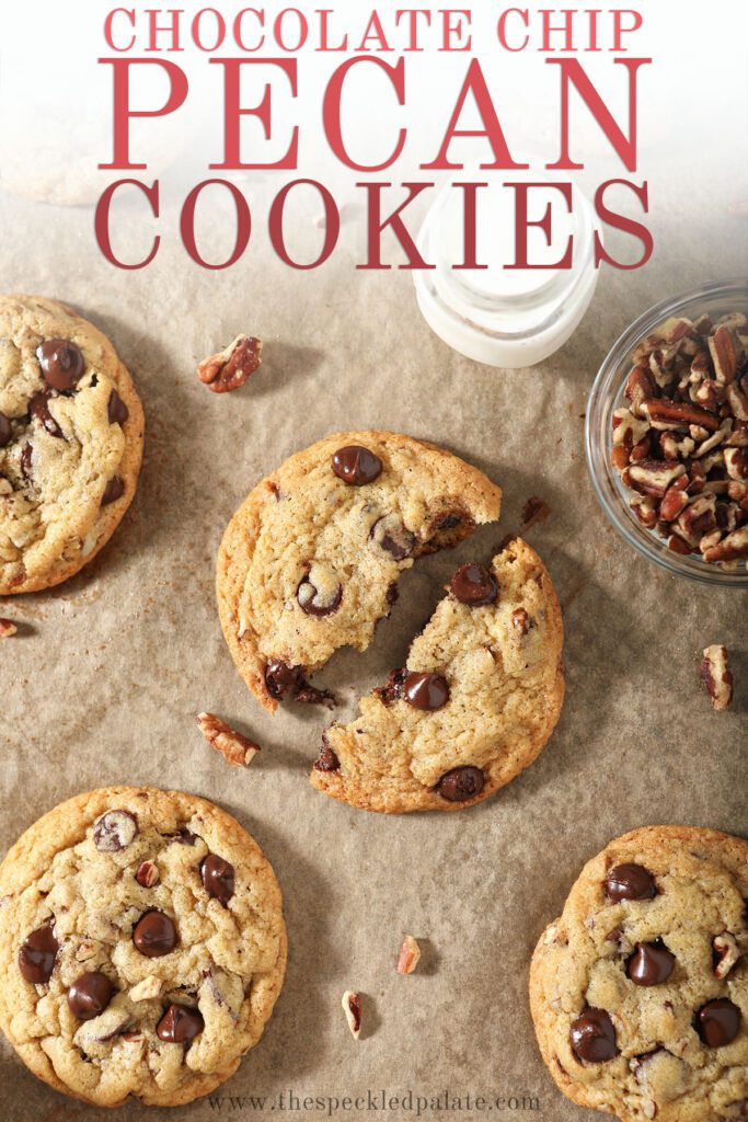 Cookies on a baking sheet with pecans with the text chocolate chip pecan cookies