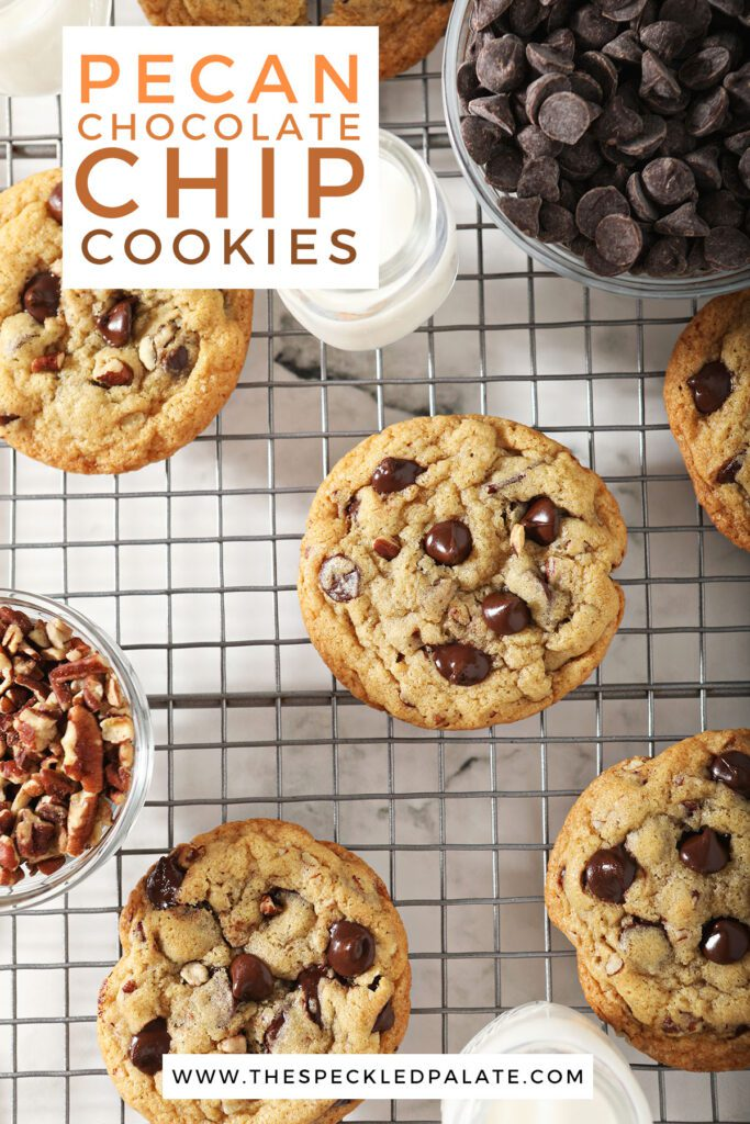 Cookies on a cooling rack with the text pecan chocolate chip cookies