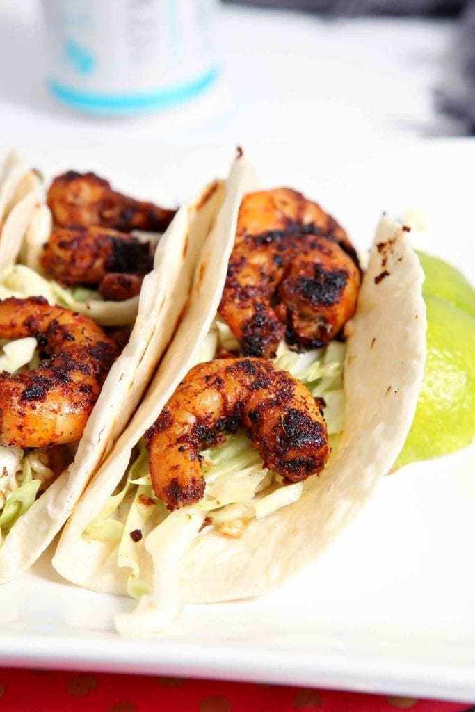 Close up of the Cajun shrimp tacos, from the side