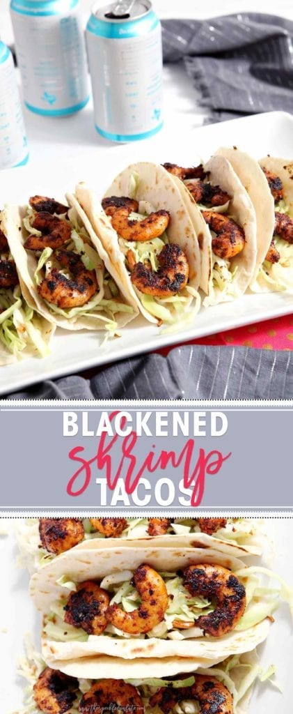 Blackened Shrimp Tacos with a crunchy coleslaw make the BEST entree for a football tailgate... or a weeknight dinner! | shrimp tacos | blackened shrimp recipe | seafood tacos | tailgate recipe | tailgate entree | blackened shrimp | seafood taco recipe | taco recipe | easy taco recipe | easy tailgate recipe