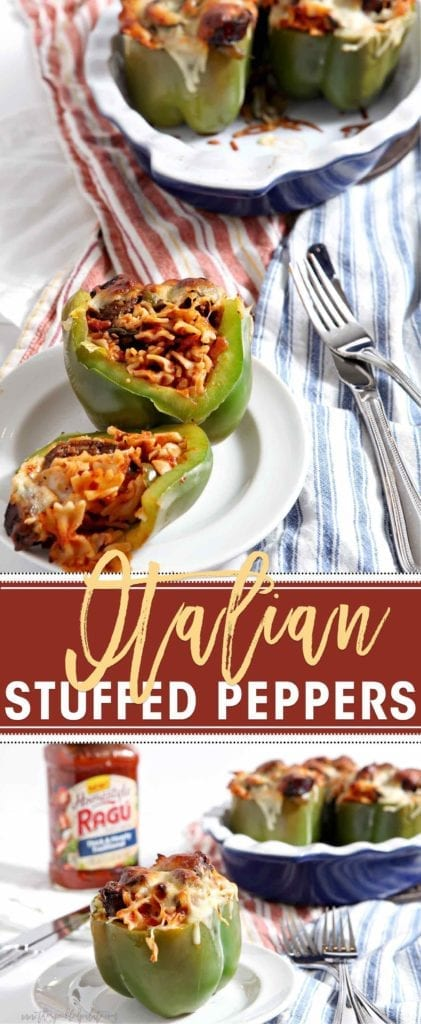 Italian Stuffed Peppers, made with RAGò¨ Homestyle Sauce, are a simple homestyle meal! As the pasta boils, prep the bell peppers and cook hot Italian sausages in a pan with a little bell pepper and fresh zucchini. When the pasta is ready, toss in RAGò¨ Homestyle Thick and Hearty Traditional Sauce, then layer it, the sausage and veggies into the bell peppers, top with mozzarella, and bake until golden brown. An easy, delicious weeknight dinner. #ad