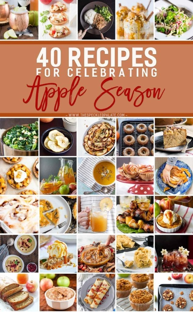 Apple season is here! Celebrate the arrival of autumn with these 40 fall apple recipes! Apples can be used so many different ways for so many different dishes, and we are celebrating the versatility of this autumnal fruit on the blog today. These 40 unique apple recipes are breakfasts, cocktails, appetizers, entrees, side dishes and desserts... and I fully support us making them ALL this season! Which one is YOUR favorite?