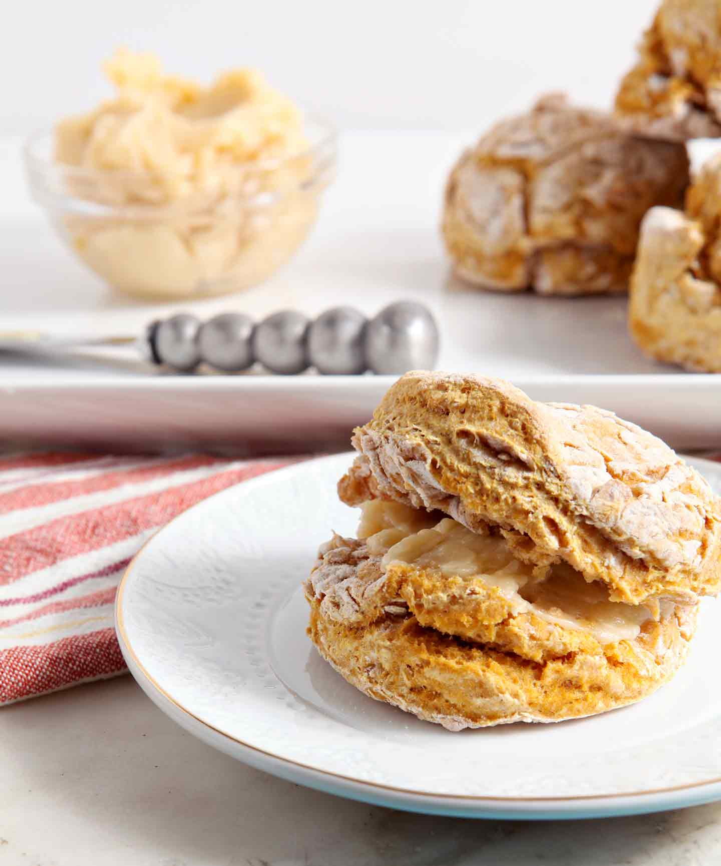 Pumpkin Biscuit on white plate