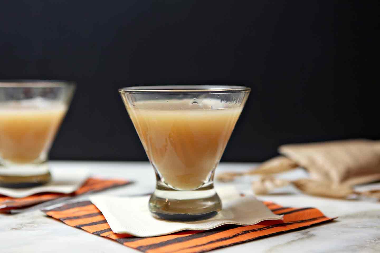 Salted Caramel Appletini in glass on napkin