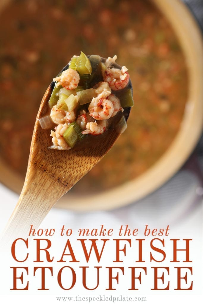 "Overhead of a wooden spoon holding crawfish ŽtouffŽe over a pot, with the text ""how to make the best crawfish etouffee"""