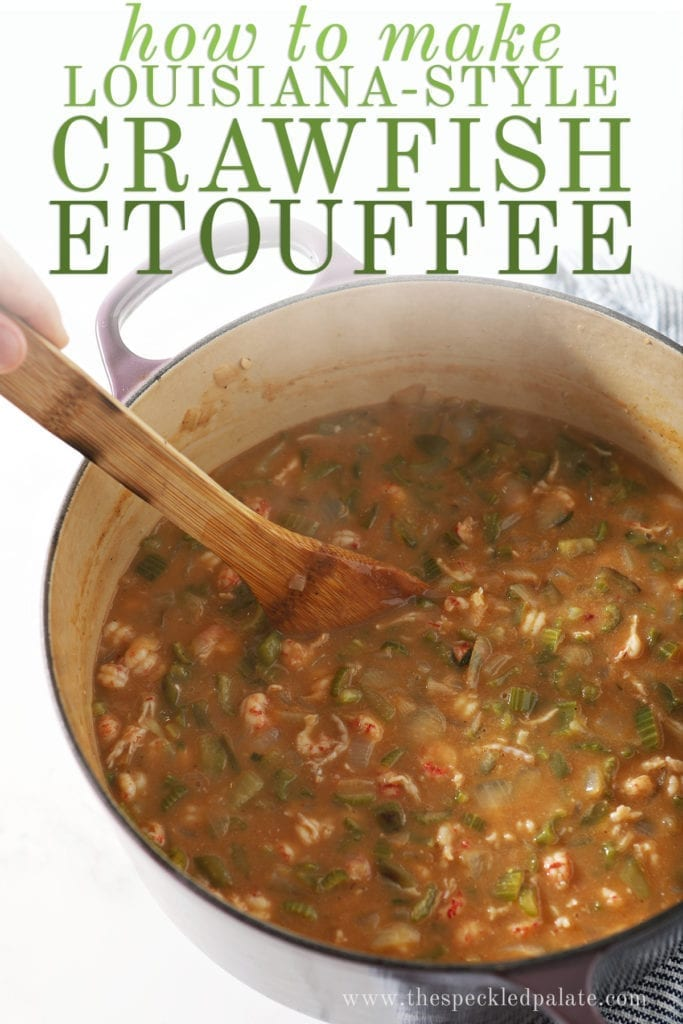 "A wooden spoon stirs crawfish etouffee in a pot, with the text ""how to make louisiana-style crawfish etouffee"""