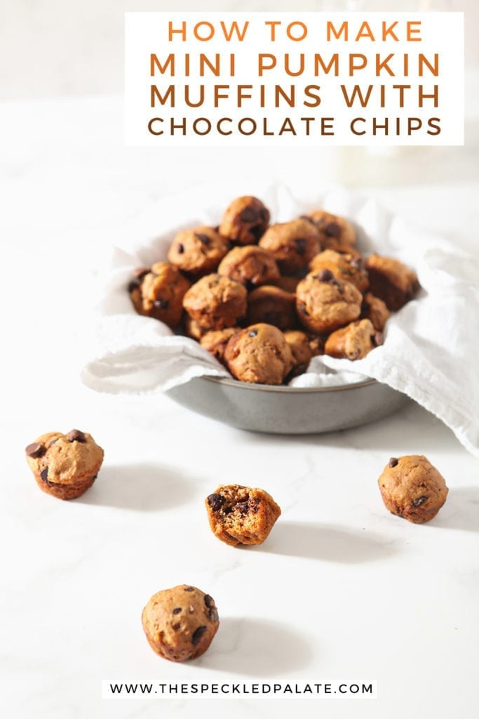 A bowl of mini pumpkin muffins on a marble surface and some muffins on the surface itself with the text 'how to make mini pumpkin muffins with chocolate chips'