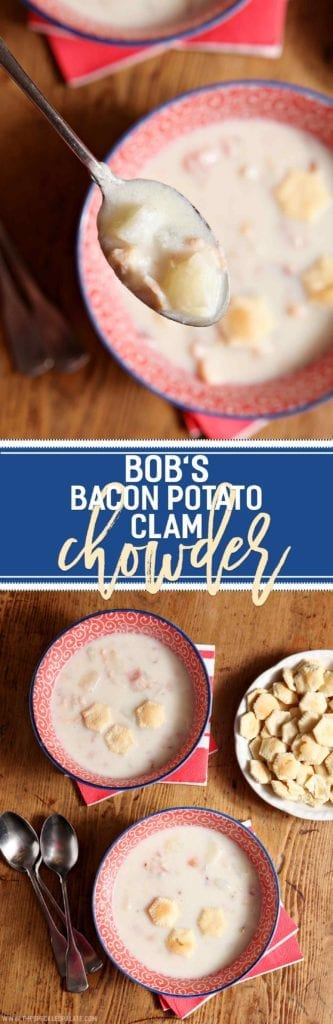 Bob's Bacon Potato Clam Chowder, a classic New England recipe, makes a comforting, delicious meal for the whole family! Bacon renders, then an onion cooks in the rendered fat. Add flour and butter to create a roux, then add clam juice and whole clams! When the mixture thickens, add milk, potatoes and water. Season with salt and pepper, and simmer until the mixture coats the back of the spoon. Perfect for any season, this chowder sings of the sea.