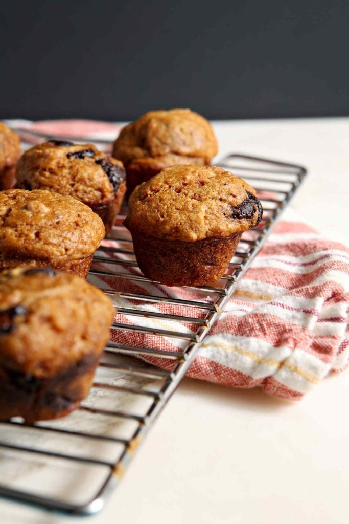Mini Pumpkin Chip Muffins on a cooling rack