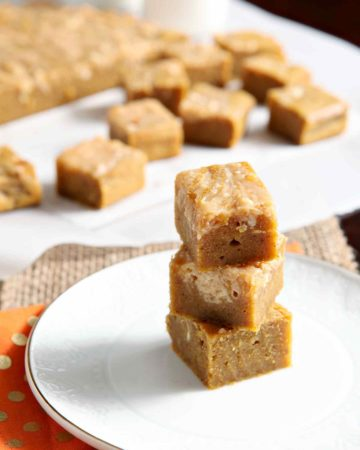 Stacked blondies, with evident swirls, after baking