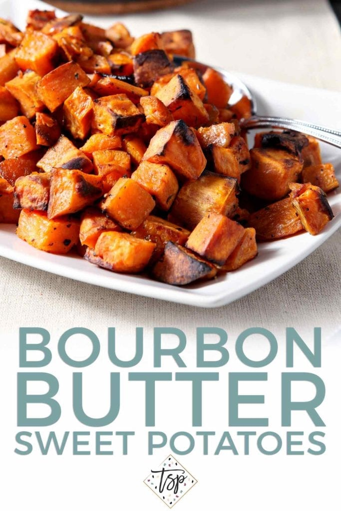 Pinterest graphic for Bourbon Butter Sweet Potatoes, featuring a close up of the final cooked potatoes and text