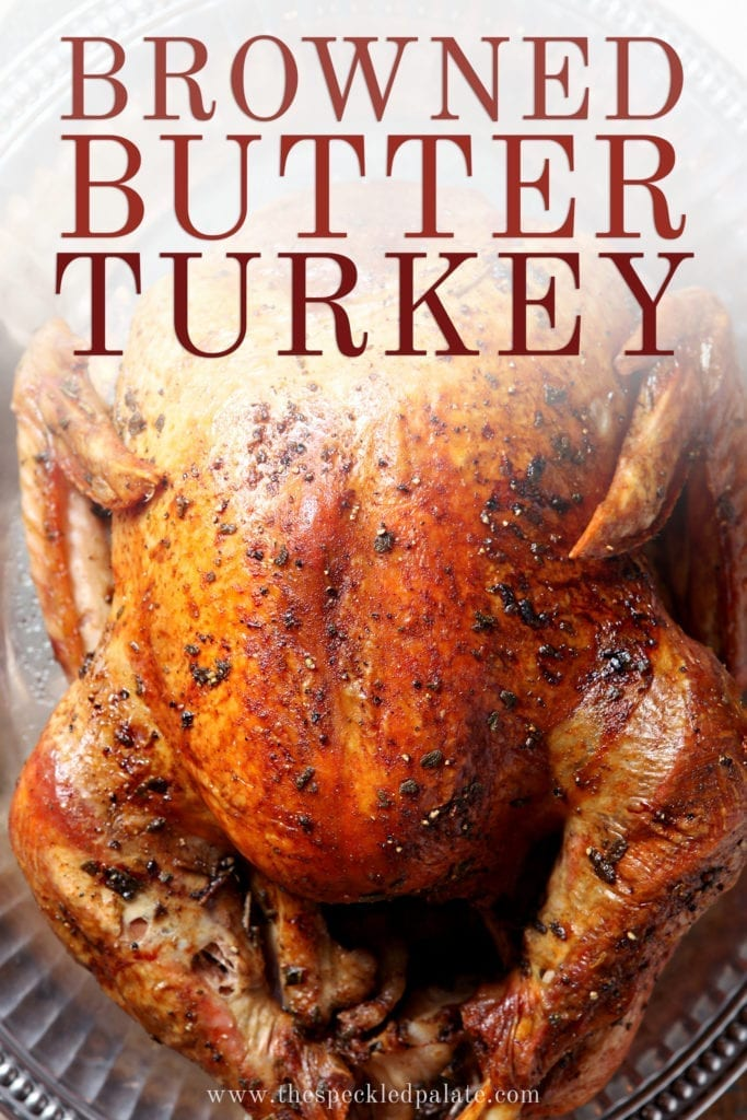 Close up of the Roasted Turkey, with Pinterest text
