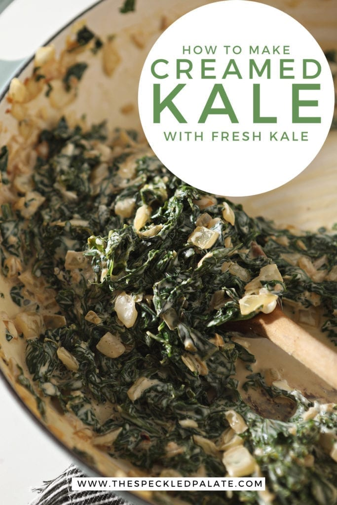 The creamy kale in a pan, after stirring the cream cheese into the mixture with the text 'how to make creamed kale with fresh kale'