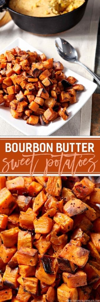 Be still, my bourbon, butter, and sweet potato loving heart! Bourbon Butter Sweet Potatoes make a DELICIOUS, flavorful side for the Thanksgiving table this year and are SO simple to make! Cube sweet potatoes, then douse in a mixture of butter and bourbon, season with fresh thyme, salt and pepper, and bake for 45 minutes. Broil the potatoes to add a nice crunch, then serve warm. This bourbon-y, buttery side dish is holiday meal perfection.