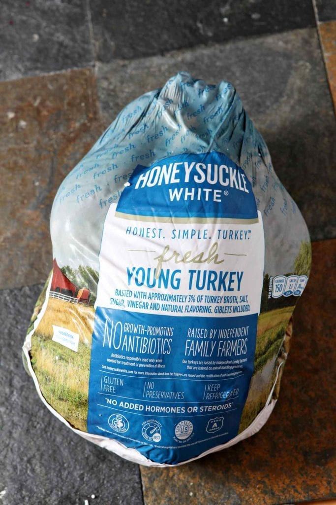 Closeup of the Honeysuckle White Turkey in its packaging, from above