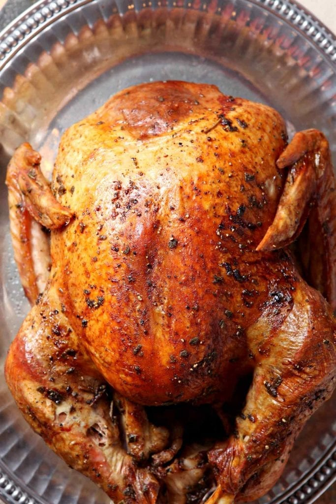 Close up of the roasted turkey from above