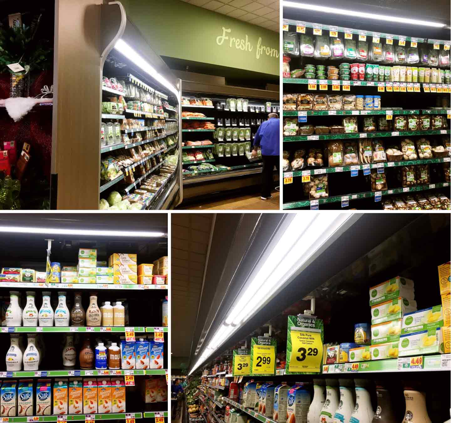 Collage of where to find the turkey and other ingredients in the Kroger grocery store