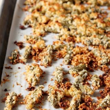 Crunchy Green Bean Casserole Bites with a Creamy Dipping Gravy are served on a white platter