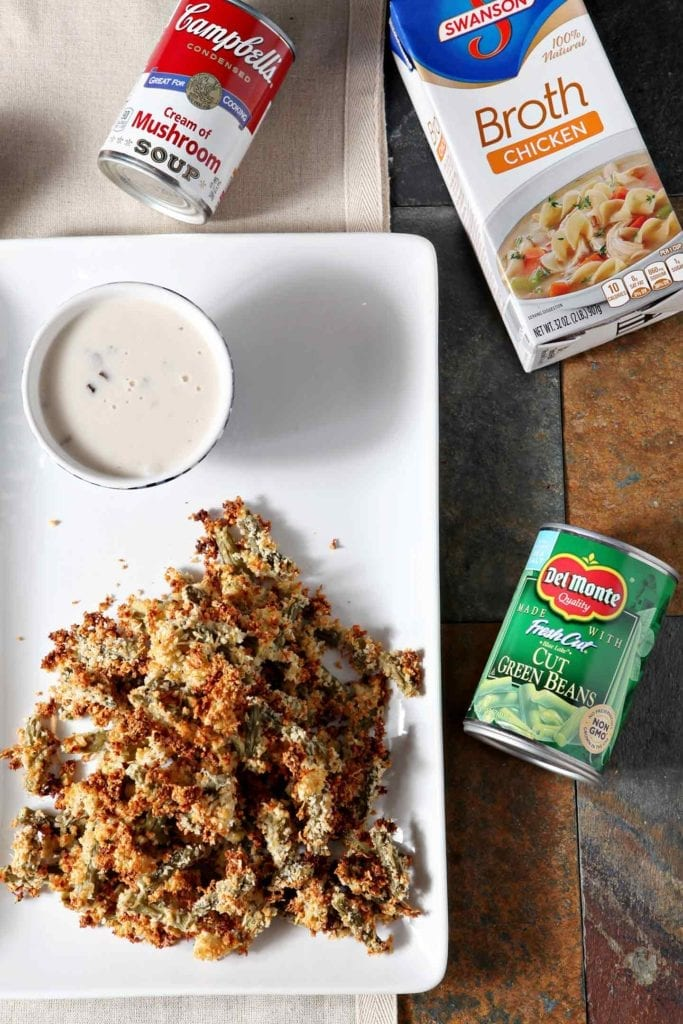 Want to make the ULTIMATE Friendsgiving appetizer? Crunchy Green Bean Casserole Bites with a Creamy Dipping Gravy is the recipe you're looking for! Transform traditional green bean casserole ingredients - Del Monte® <em srcset=
