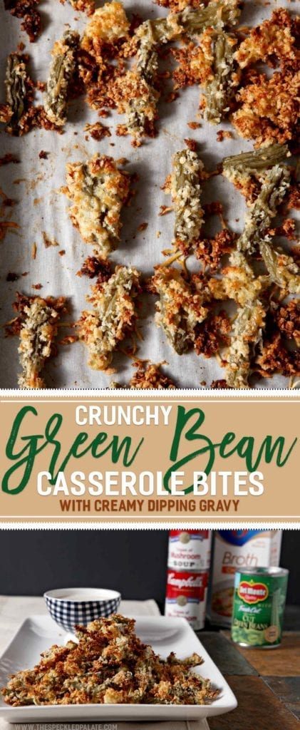 Want to make the ULTIMATE Friendsgiving appetizer? Crunchy Green Bean Casserole Bites with a Creamy Dipping Gravy is the recipe you're looking for! Transform traditional green bean casserole ingredients - Del Monte® <em>Blue Lake</em>® Cut Green Beans, <em>Campbell's</em>® Cream of Mushroom Soup and <em>Swanson</em>® Chicken broth - into a handheld appetizer and dipping gravy that are sure to wow. Ready in less than 50 minutes, these easy bites are scrumptious! #ad #GiveThanksBeFull