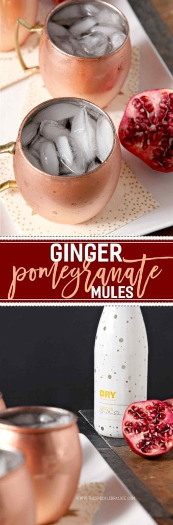 Prepare for the upcoming holidays by mixing up a cocktail with some ginger zing! Ginger Pomegranate Mules make the perfect seasonal drink for Thanksgiving and Christmas. Made with DRY Sparkling Ginger, 100% pomegranate juice, vodka and ginger simple syrup, this drink comes together quickly and can be made in batches for a crowd. Serve in copper mugs for that traditional mule feel, and enjoy sipping on this spicy cocktail throughout the season. #spon