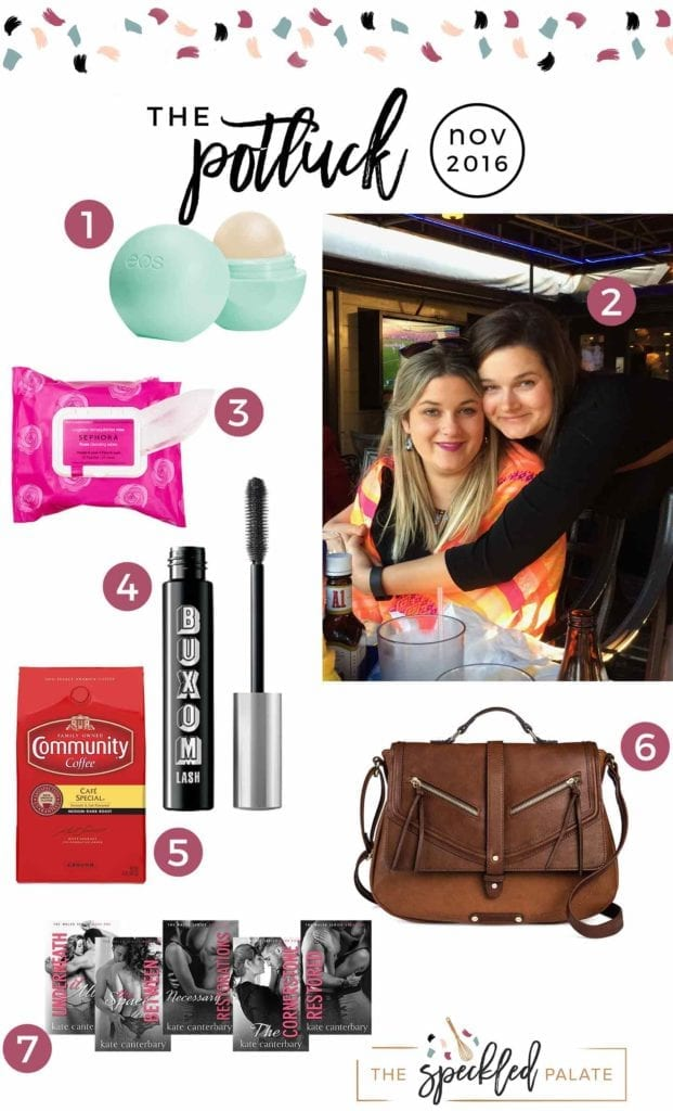 Continuing the monthly tradition, The Speckled Palate's The Potluck: November 2016 includes a few makeup items, a messenger bag, a contemporary romance book series, a much-needed drink and more. Swing by the blog today to get a full list of the things I adored during the month of November.