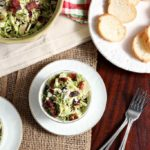 Cranberry Feta Brussels Sprout Salad with Candied Pecans and Warm Bacon Vinaigrette