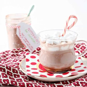 Surprise friends, teachers and neighbors with this simple, gluten free and vegan Mason Jar Peppermint Hot Cocoa Mix for the holidays! Calling for just three ingredients, this peppermint-y gift mix will wow its recipients. Combine sugar, cocoa powder and crushed candy canes in a mason jar, and gift the jar with candy canes or a seasonal mug. Simply tie the cocoa's instructions to the jar with a festive ribbon, and this homemade gift is good to go!